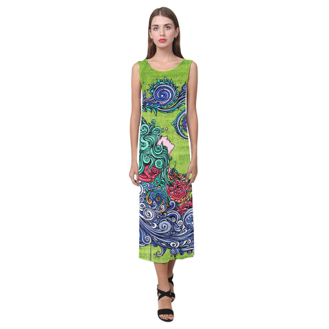Aquarius Green Sleeveless Open Fork Long Dress