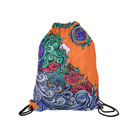 Aquarius Drawstring Bags Orange (Medium)
