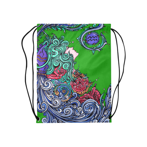 Aquarius Drawstring Bags Green (Medium)