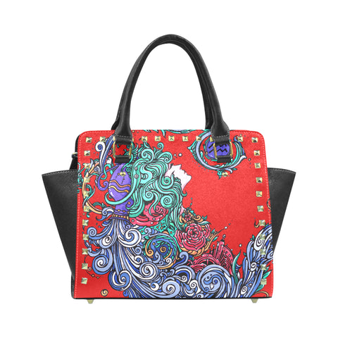 Aquarius Rivet Shoulder Handbag Red