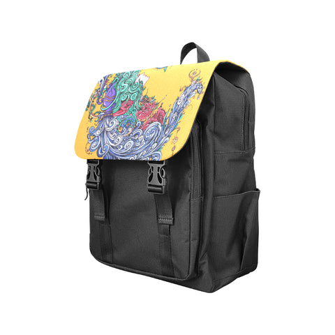 Aquarius Shoulders Backpack Black Yellow