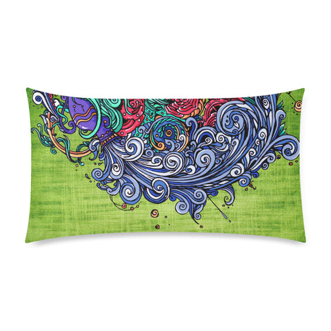 Aquarius Rectangle Pillow Case Green(One Side)