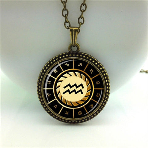 Aquarius Pendant Zodiac Sign Glass Dome