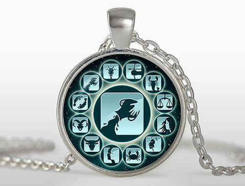 Aquarius Pendant Zodiac Sign Pendant Jewelry Glass