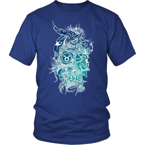Taurus Sign Cold Colors Style 1 T-Shirts