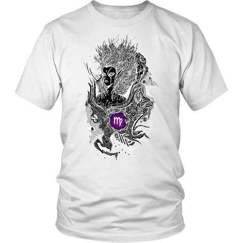 Virgo Sign Black White Color T-Shirts