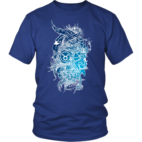Taurus Sign Cold Colors Style 2 T-Shirts