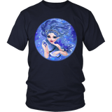 Aquarius Sign Angel Bright Blue Style T-Shirts
