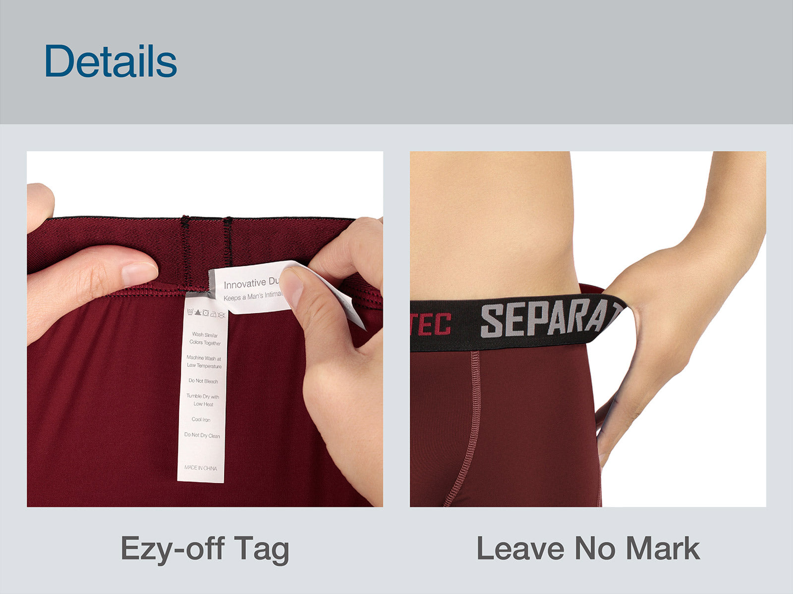 Separatec 2 Pouch underwear, Innovative Daul Pouch Patent Technology, Ezy-off tag, leave no mark, won't roll up, comfortsoft