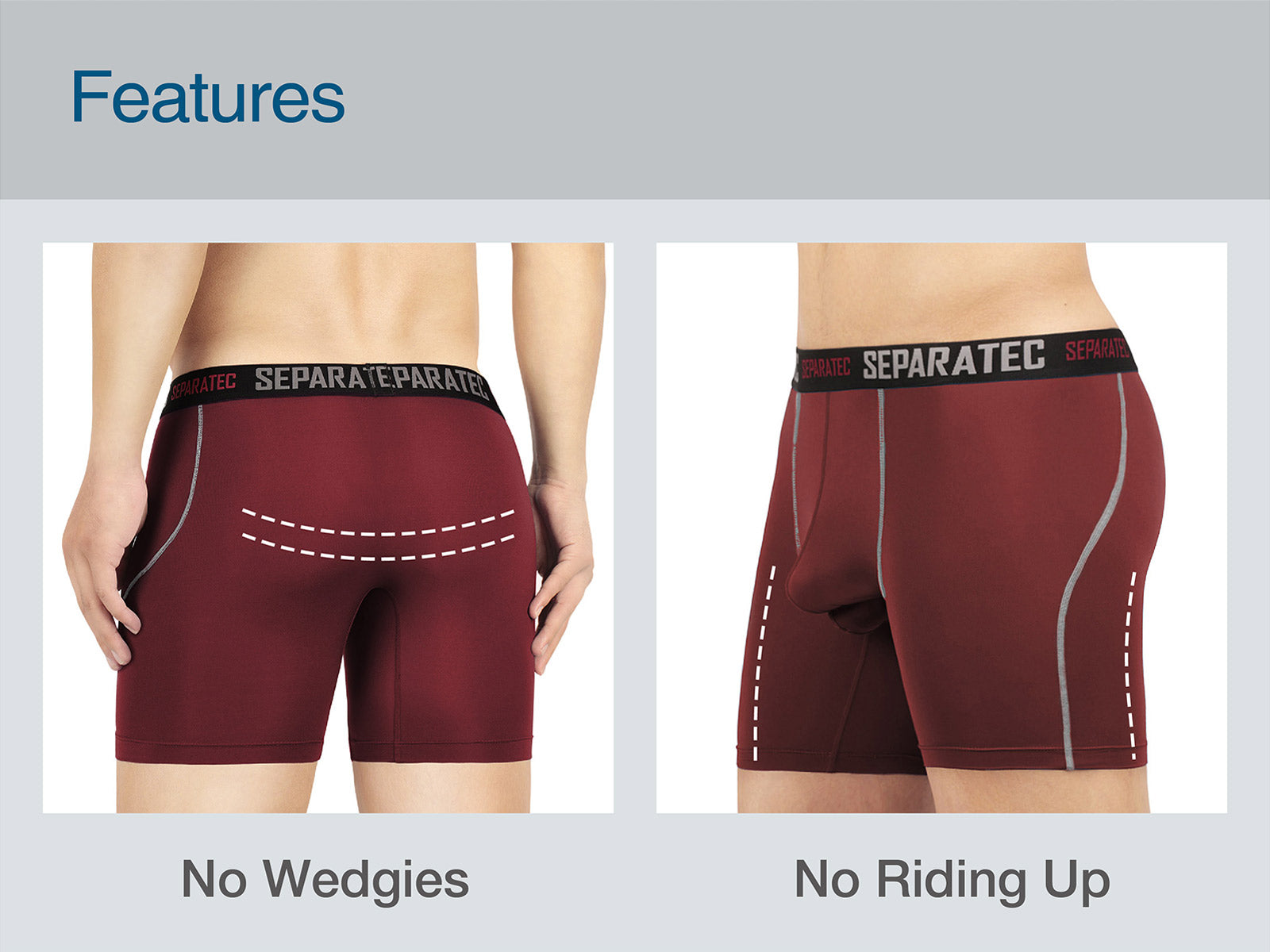 Separatec 2 Pouch underwear, No wedgies, No riding up, sport underwear, long leg boxer briefs