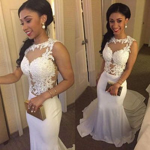 white prom Dress,Mermaid Prom Dress,sexy prom dress, lace prom dress,evening dress,BD605