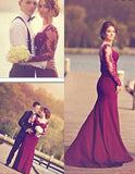 burgundy Prom Dress,long Prom Dress,long sleeves Prom dress,mermaid prom Dress,evening Dress,BD603