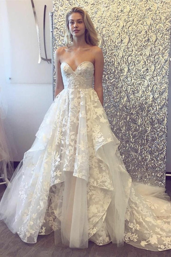 Sweetheart White Long Lace Elegant Long Charming Wedding Prom Dresses,VO03