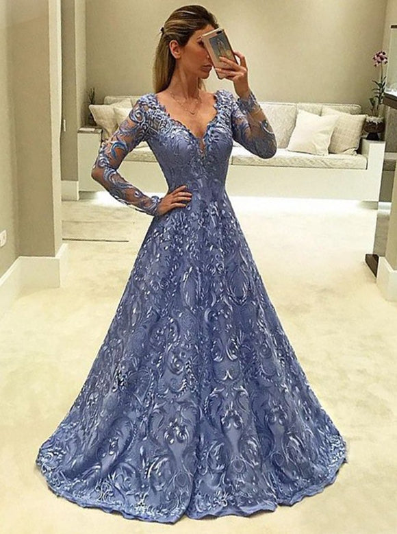 purple lace long sleeves v-neck modest prom dress, HB205