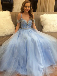 light blue tulle spaghetti straps long beaded prom dress, HB203