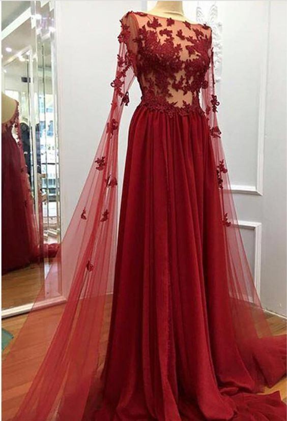 charming sexy burgundy long sleeves prom dress with appliques,HB178