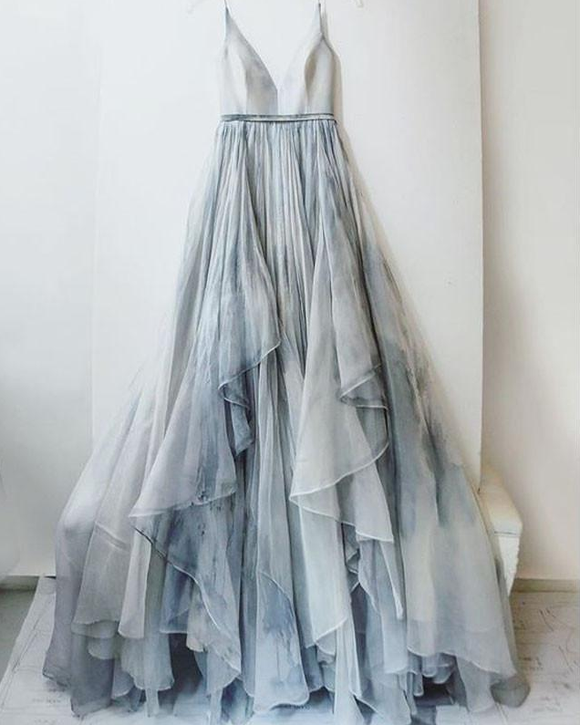 Spaghetti Straps Fluffy Skirt Grey Long Prom Dress Unique Design Wedding Dress,HO97