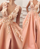 blush pink v-neck side slit long prom dress with 3D flowers, HB2079