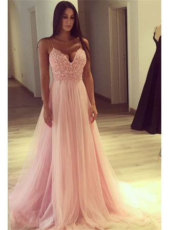 light pink tulle spaghetti straps simple long prom dress,HB38
