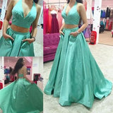 blue prom Dress,two pieces Prom Dress,A-line prom dress,halter prom dress,prom gown,BD608