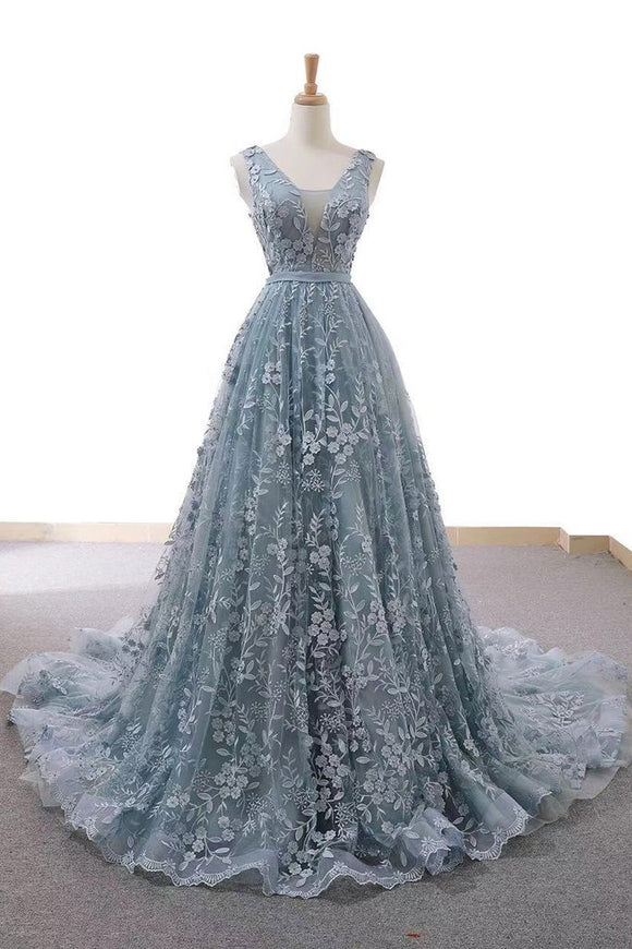 chic dusty blue lace long elegant prom dress,B071