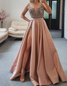 dusty pink sparkle beaded top party dress A-line long prom dress with side slit,HB99