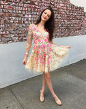 Cute lace applique short prom dress, homecoming dress,BD3122