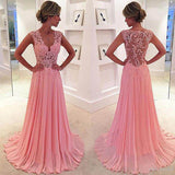 Pink Prom Dresses,Lace Prom Dress,See through Prom Dress,2016 Prom Dress,dresses for prom,BD087
