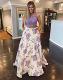 two pieces purple lace top flower skirt chic popular prom dress,HB101