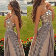 Beading prom dresses,Sweetheart prom dresses,A-line prom dresses, Chiffon Prom Dresses 2017,BD170012  alt=
