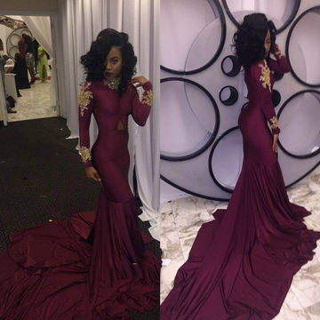 Burgundy prom dresses, Beading prom dresses,  High-Neck prom dresses, Mermaid Stretch Satin Prom Dresses 2017,BD170004
