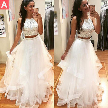 White prom dresses, Beading prom dresses,A-line Tulle prom dresses,Two Pieces Prom Dresses 2017BD170005