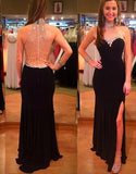 Long Prom Dresses,black Prom Dress,side slit Prom dress,charming prom Dress,2016 prom Dress,BD442
