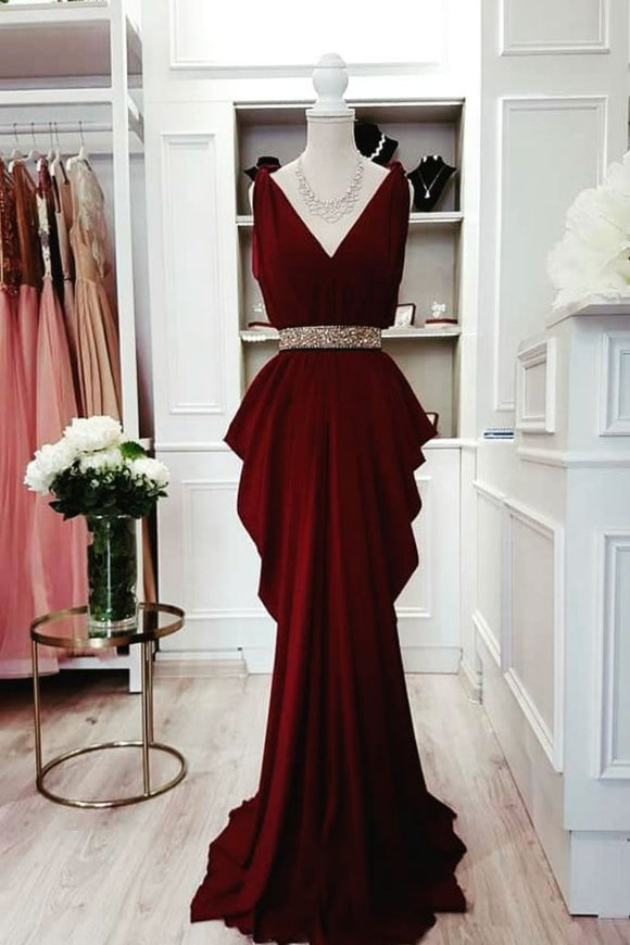 formal dark burgundy v-neck chiffon long prom dress,HB79