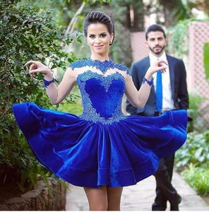 Short prom Dress,Charming Prom Dresses,Royal blue prom Dress,homecoming dress,Party dress for girls,BD053
