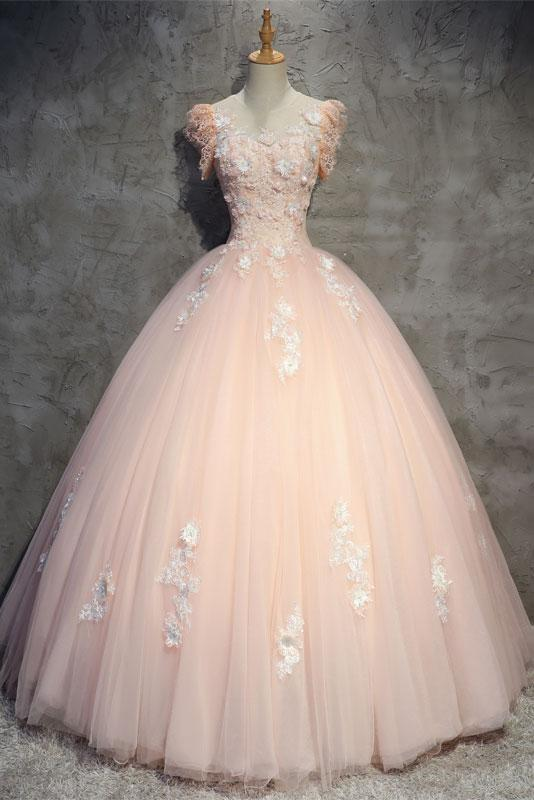 gorgeous modest light pink tulle short sleeves long ball gown,HB81