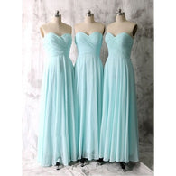 blue bridesmaid dress,long bridesmaid dress,simple bridesmaid dress,chiffon bridesmaid dress,BD621  alt=