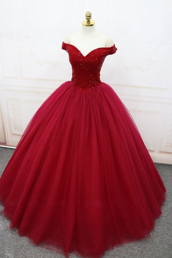 off shoulder burgundy tulle A-line long formal prom ball gown,HB68
