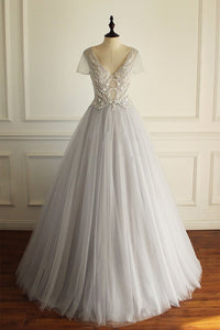light gray tulle short sleeves v-neck long prom dress,HB13
