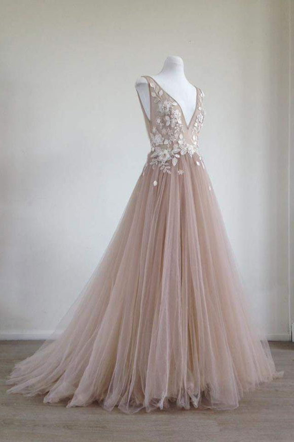 dusty pink tulle v-neck long prom dress charming party dress,HB21