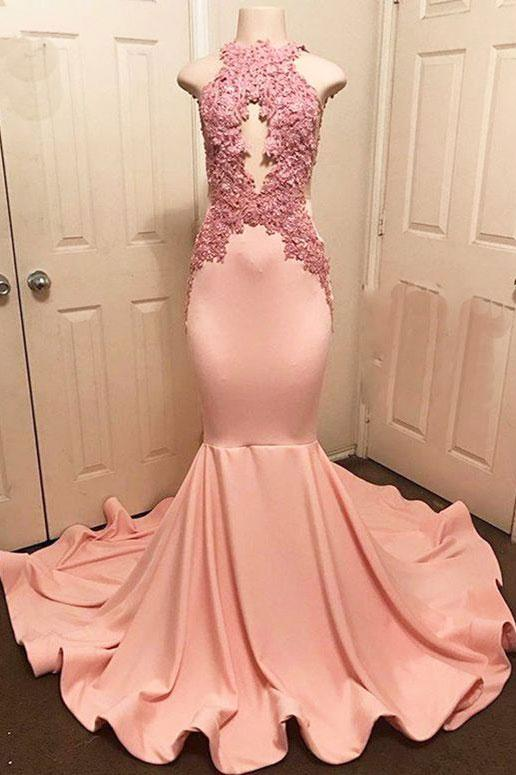 pink mermaid sexy long prom dress formal evening dress,HB14