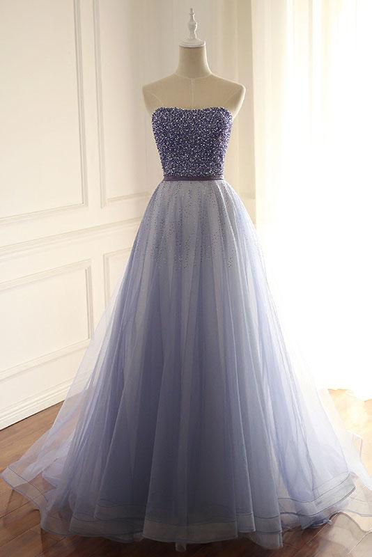 strapless lavender tulle beaded A-line long prom dress,HB20