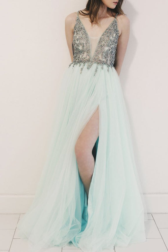 baby blue tulle spaghetti straps beaded side slit long prom dress ,HB18