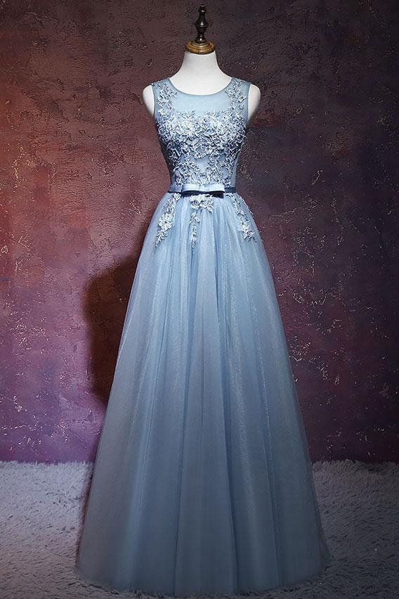 elegant A-line dusty blue tulle open back long prom dress,HB73