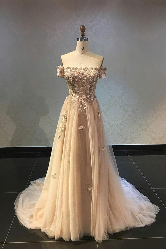 champagne tulle with appliques off shoulder long prom dress,HB12