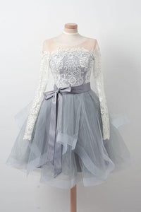 white lace long sleeves grey tulle skirt short prom dress cheap homecoming dress,HB43