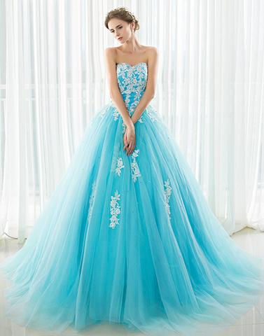 Blue sweetheart neck tulle lace applique long prom dress,BD0105