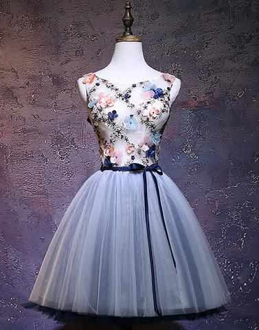 Gray blue tulle short prom dress, tulle homecoming dress,BD3101