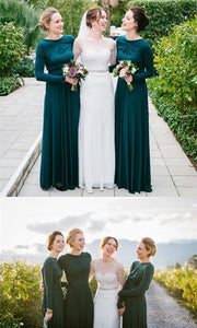 long sleeves bridesmaid dress,long modest bridesmaid dress,chiffon bridesmaid dress,green bridesmaid dress, BD3625