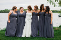 gray bridesmaid dress,long bridesmaid dress,chiffon bridesmaid dress,Cheap bridesmaid dress,BD1644  alt=